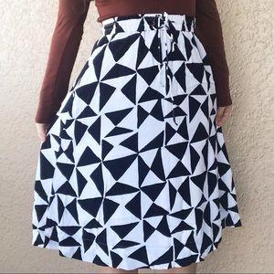 Ann Taylor LOFT Skirt Midi Black White XS Geometri